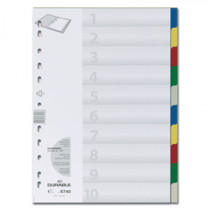 Պլաստիկ էջաբաժանիչ А4 գունավոր,10 բաժին 10603